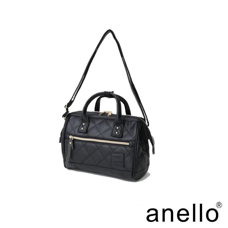 anello 氣質菱格壓紋波士頓手提斜背包 黑色 M尺寸(AH-H1861-BK)