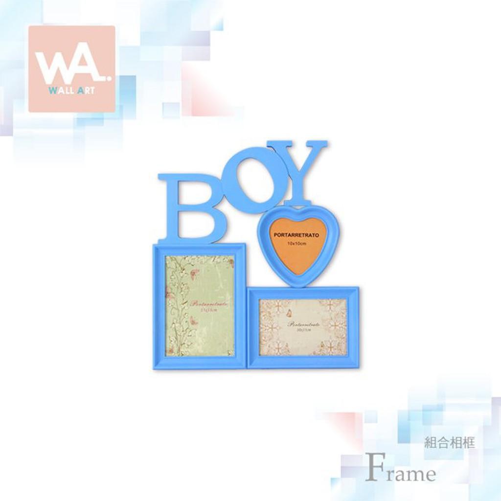Wall Art 現貨 男孩相框 成長紀錄組合 立體紀念相框 兒童嬰兒禮物 彌月滿月滿周歲禮物 粉藍色英文字母
