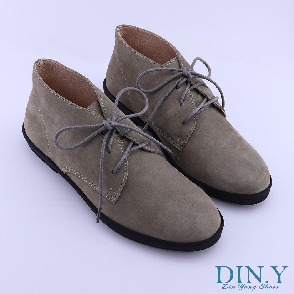 DIN.Y / S004-03 / 真皮復古個性短靴(灰) 英倫風/ 工裝靴/ 真皮/ 頂級牛巴戈皮革 / 牛皮/ 女鞋