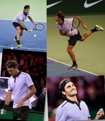 2017費德勒Federer 紅土 非洲表演賽 紫色衣戰袍POLO,BOYS的L、XL號(即美規XS、S號)售2300元