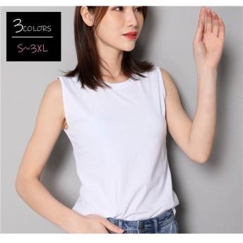 Tシャツ ラウンドネック ノースリーブ カジュアル トップス レディースファッション シンプル 無地 単色 定番 夏 涼しい