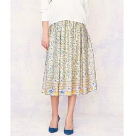 組曲 / クミキョク 【洗える】パネルフラワープリント スカート
