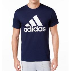 Adidas 2019男時尚大標誌深藍色圓領短袖ㄒ恤
