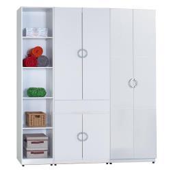 【AT HOME】凱倫6尺白色三件組合衣櫃[五格+中抽掀鏡+雙吊](180*54*197cm)