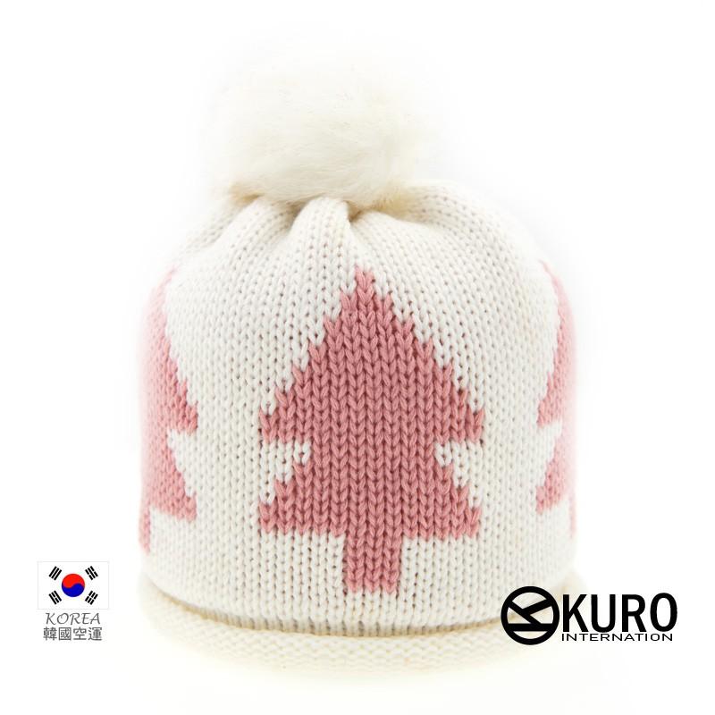 KURO-SHOP韓國進口 白色樹狀球球針織帽
