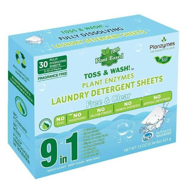 美國Planzymes芬樂植 植物酵素洗衣片 無香/抗敏感 30片