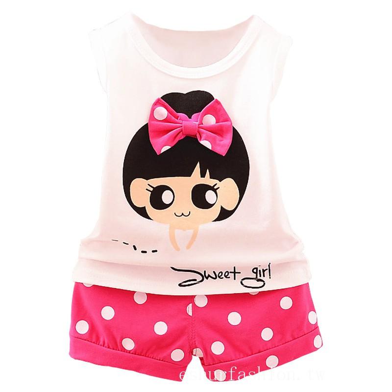 夏装新款蝴蝶結 可愛女孩背心上衣 + 短褲兩件套