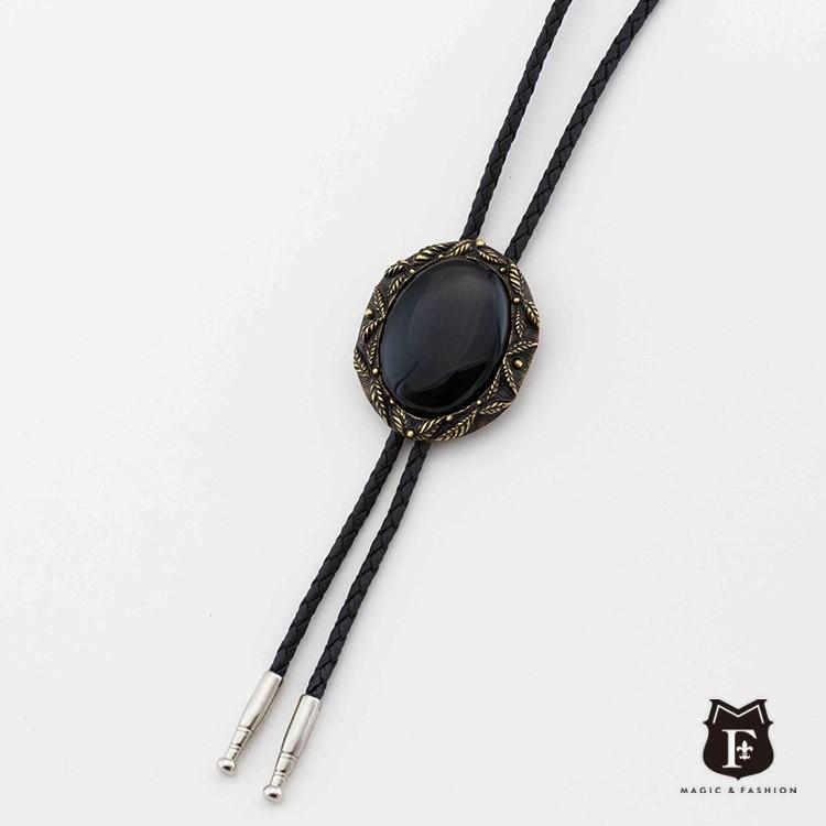 【MF SELECT】都會系列-葉框黑瑪瑙 保羅領帶 Bolo Tie 美式項鍊 (JA1074N-1)