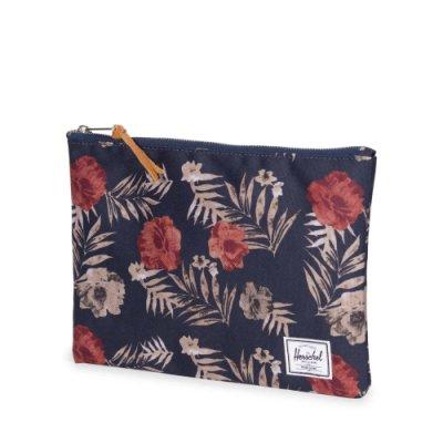 【GIANT MALL】HERSCHEL NETWORK LARGE POUCH 化妝/小物包 手拿包 收納包 深藍花卉