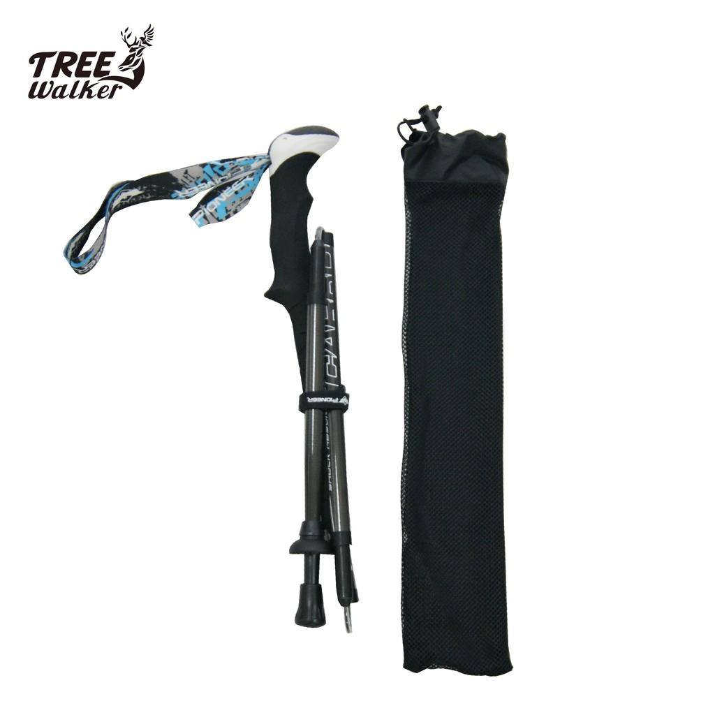 【Treewalker露遊】三節折疊登山杖 德國GS認証 超輕登山助力杖 航空碳纖維 四尺吋 (單支價)