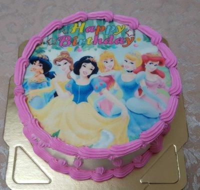 六吋 白雪公主  生日 相片 卡通   造型  蛋糕