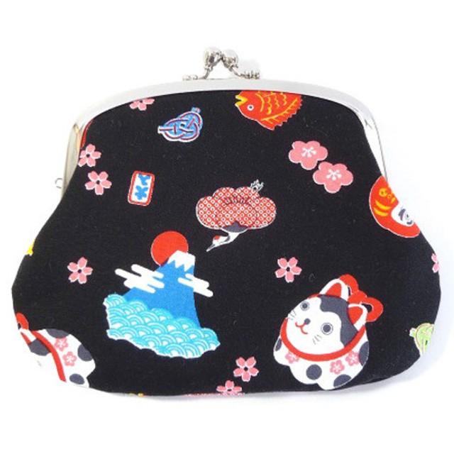 【受注製作】親子がま口 財布 日本 招き猫・富士山 和柄 黒