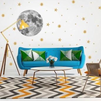 ウォールステッカー ウォールシール 月 ムーン 星 スター 宇宙 壁シール 壁紙シール 壁面装飾 室内装飾 インテリア