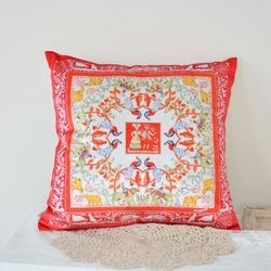 【協貿】奢華復古棉絨布料恩愛鳳凰沙發方形抱枕含芯