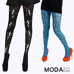 【摩達客】英國進口義大利製Pamela Mann 骷髏跳舞+藍綠小斑馬紋彈性褲襪2件組