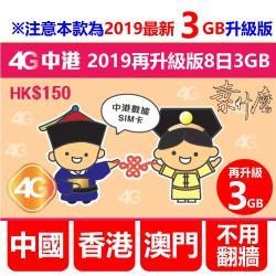 (素什麼) 新 中港澳網卡 中國SIM卡+香港SIM卡+澳門SIM卡 升級版8日4G網路 升級7GB降速吃到飽 中國網卡 香港網卡 澳門網卡