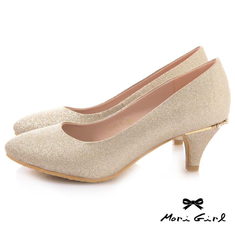 Mori girl光澤亮片後水鑽珍珠中低跟婚鞋 金 粉