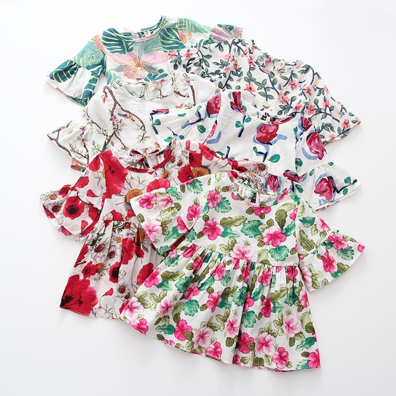 夏裝新款女童連衣裙 兒童印花復古薄棉水墨花喇叭短袖t恤 可愛女孩娃娃衫【IU貝嬰屋】