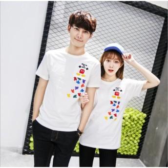 綿 刺繍Tシャツ 可愛いミッキープリント★ペアルックカップルtシャツ ミッキー Tシャツ ディズニー Tシャツ 半袖 レディース メンズ tシャツ 男女兼用