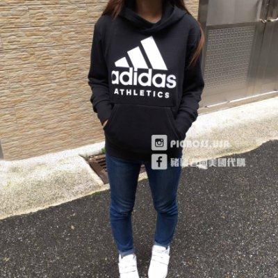 【豬豬老闆】ADIDAS ATHLETICS 黑白 大LOGO 運動 休閒 連帽T恤 帽T 男款 BR4747