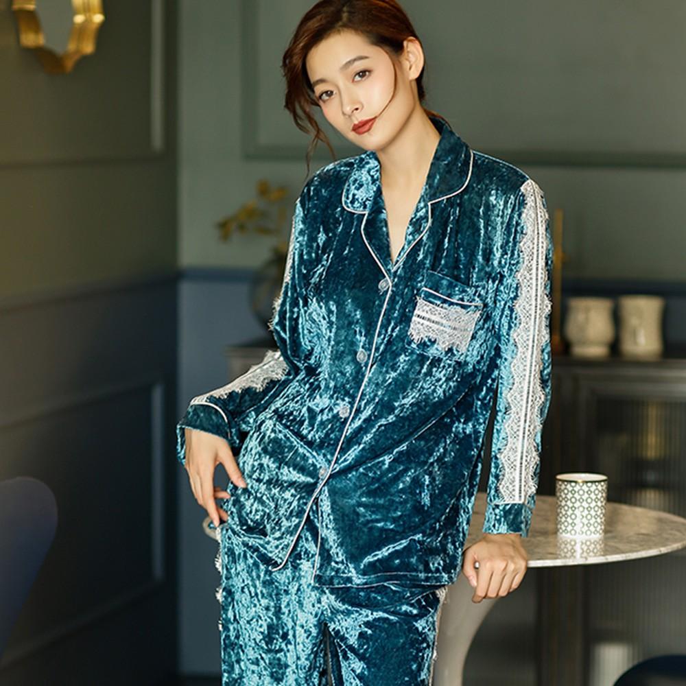 【Wonderland】魅力裸肌金絲絨衣褲組(藍)