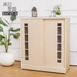 Birdie南亞塑鋼-3尺透視推門塑鋼鞋櫃(白橡色)