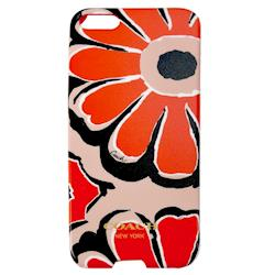 COACH 花朵 iPhone 5 手機保護殼(橘黑)