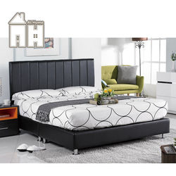 【AT HOME】莉莎5尺黑皮直條雙人床頭片(不含床底、床墊)