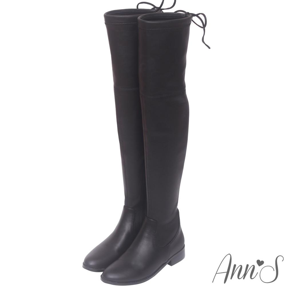Ann'S鳥仔版-獨創防滑膠條超窄版過膝靴-羊紋黑