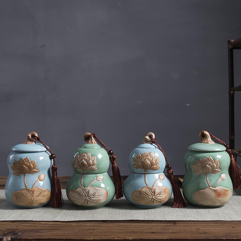 【萃本齋】出水芙蓉系列 哥窯荷花浮雕陶瓷茶葉罐 防潮密封罐