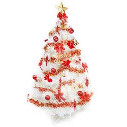 摩達客 台灣製6尺(180cm)特級白色松針葉聖誕樹 (紅金色系配件)(不含燈)