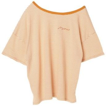 イーハイフンワールドギャラリー E hyphen world gallery ボーダー刺繍入りTシャツ (Yellow)