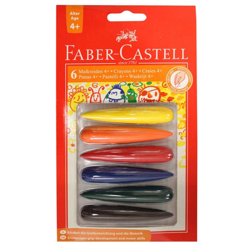 輝柏 FABER-CASTELL - 子彈可擦拭學齡蠟筆-6色