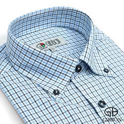 GIBBON 經典格紋長袖襯衫‧黑藍條格