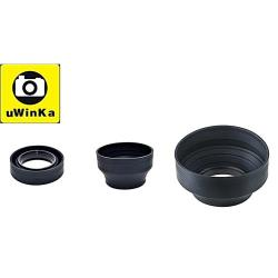 uWinka三折遮光罩62mm遮光罩UL-62S(材質:橡膠,三用:廣角標準望遠)螺紋螺牙遮光罩lens hood