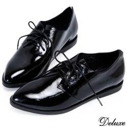 【Deluxe】尖頭復古牛津綁帶黑皮鞋(黑)-1007-613