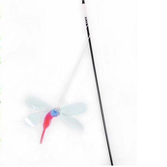 超好玩的《蜻蜓逗貓棒》甩動時會發出振翅聲-貓貓無法抵抗的誘惑-〔李小貓之家〕