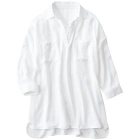 40%OFF【レディース】 オーバーシャツチュニック - セシール ■カラー:オフホワイト ■サイズ:S,M,L