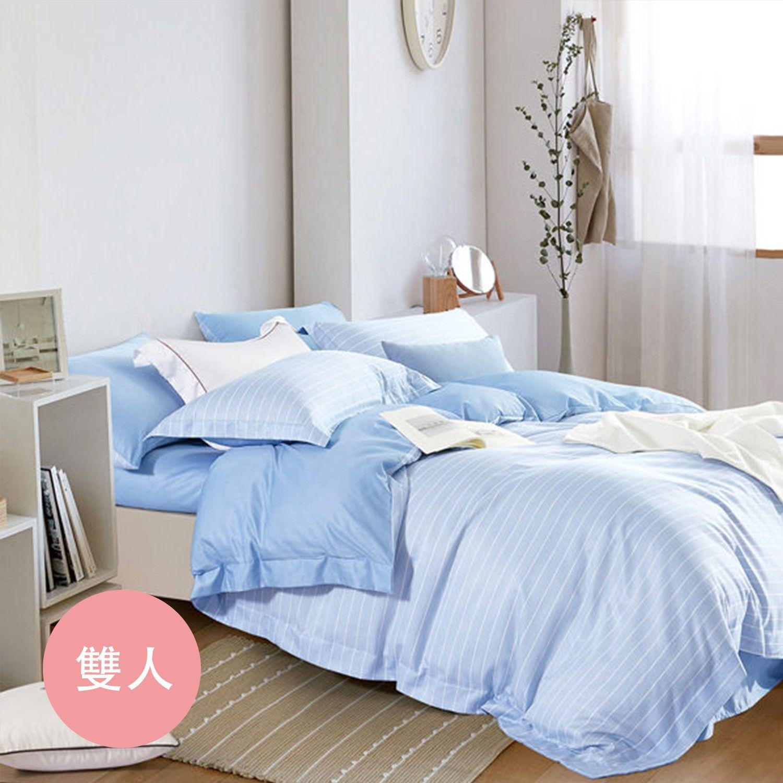 PureOne - 吸濕排汗天絲-波西米亞-藍-雙人四件式床包鋪棉被套組