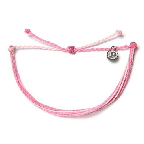 Pura Vida 美國手工 B4BC限定款 粉色系基本款可調式手鍊 Boarding 4 Breast Cancer