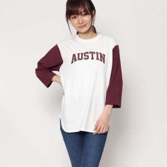 ファクターイコール Factor= 袖配色ロンTシャツ (WINE)