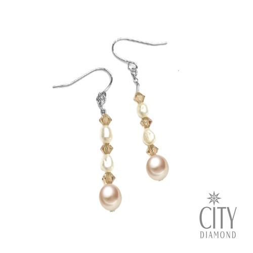 City Diamond引雅 【手作設計系列 】天然珍珠水晶耳環