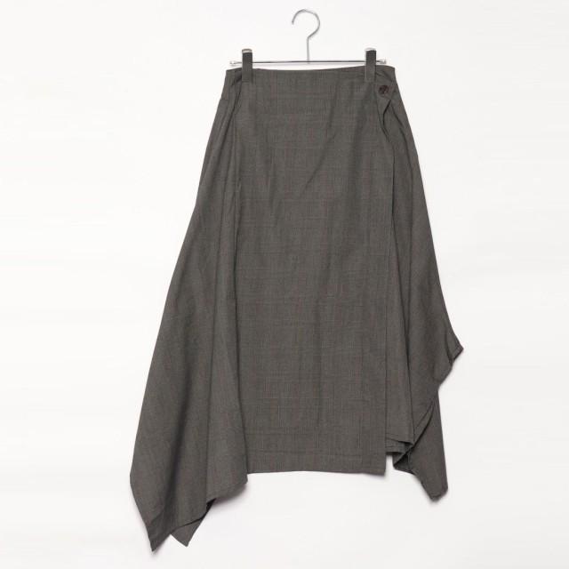 スタイルブロック STYLEBLOCK グレンチェックアシンメトリースカート (ブラウン)