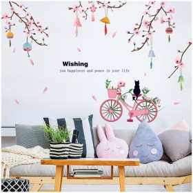 ウォールステッカー 壁装飾 シール ステッカー 風鈴 桃の花 猫 自転車 リビング 寝室 ピンク かわいい