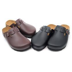 【cher美鞋】MIT前包後空真皮中底百搭伯肯懶人美鞋-黑色/咖色 36-39碼 07111623000-18