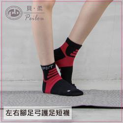 【PEILOU】貝柔輕量足弓護足短襪(M)_黑/紅