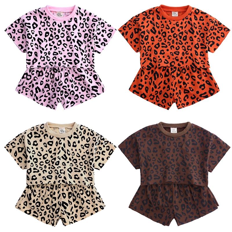 特價出清 女童夏裝套裝新款中小童短袖短褲休閑衣服寶寶洋氣豹紋兩件套