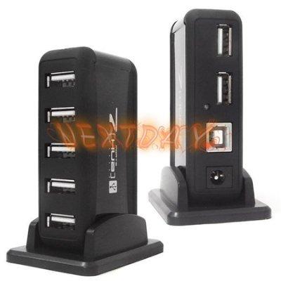 USB2.0 7PORT HUB 集線器 含獨立電源 底座 LED指示燈 桌機筆電USB擴充HUB  台中可自取