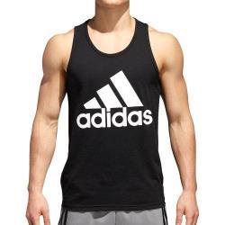 Adidas 2018男時尚大標誌款黑色圓領背心衫(預購)