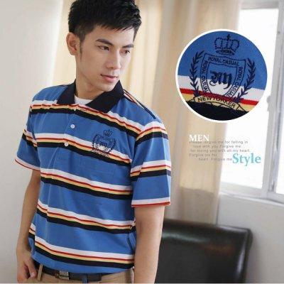 【大盤大】(P07108) 男 口袋上衣 台灣製 橫條紋 繡花 短袖POLO衫 休閒衫 保羅衫 居家舒適【剩M和L號】